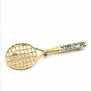 Gold-Tone Hollow Out Lattice Tennis Racket Brooch